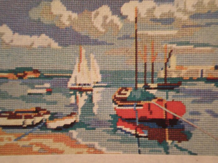 """Vintage Penelope Needlework Tapestry Kit """"Harbour"""" boats and beach"""