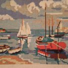 "Vintage Penelope Needlework Tapestry Kit ""Harbour"" boats and beach"