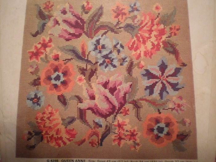 "Vintage Penelope Needlework Tapestry Kit ""Queen Anne"" Floral seat cover"