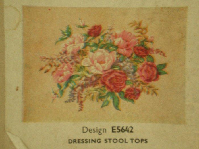 "Vintage Penelope Needlework Tapestry Kit ""Dressing Stool Tops"" Floral seat cover"