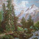 "Etoile ""En Montagne d'apres J.Thomas"" Mountain Scene Tapestry/Needlepoint Canvas and Yarn"