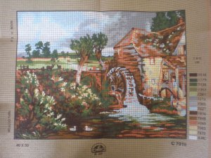 The Mill and Pond Canvas and yarn