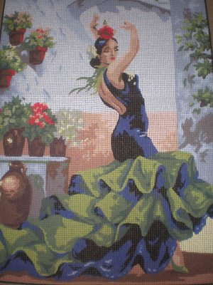 Collection D'Art Flamenco Dancer in Green Canvas and yarn