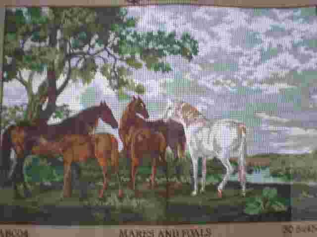 """Anchor Tapestries """"Mares and Foals"""" horses in pasture Tapestry / Needlepoint Kit"""