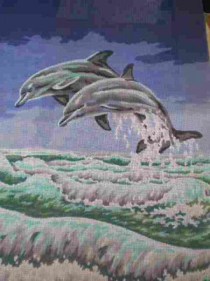 Collection D'Art Dancing Dolphins Canvas Tapestry / Needlepoint / Cross Stitch
