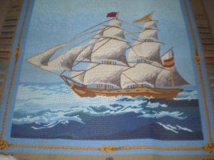 """""""Le Frigate""""  Ship with sails Needlepoint / Tapestry Kit"""