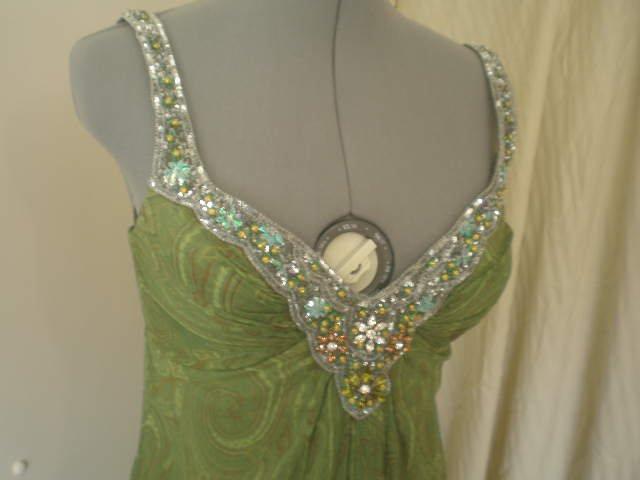 Green paisley swirl beaded floor length formal dress