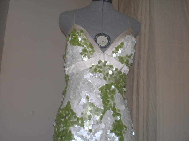 White with Green floral pallette dress NWOT