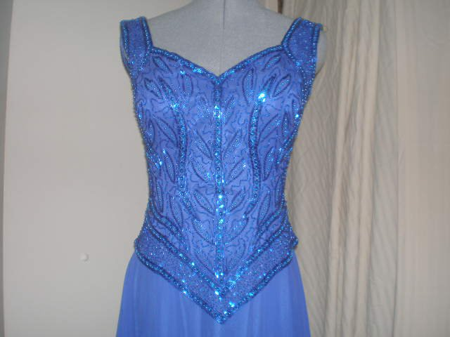 Royal Blue Sequined 1930s style evening gown