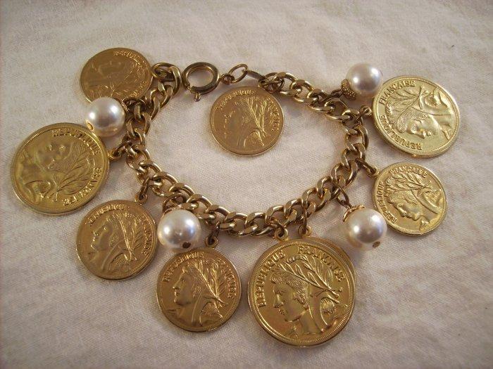 Vintage gold tone coin bracelet Faux pearls Joans Collectibles