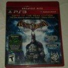 Batman Arkham Asylum -- Game of the Year Edition (Sony PlayStation 3, 2010) PS3