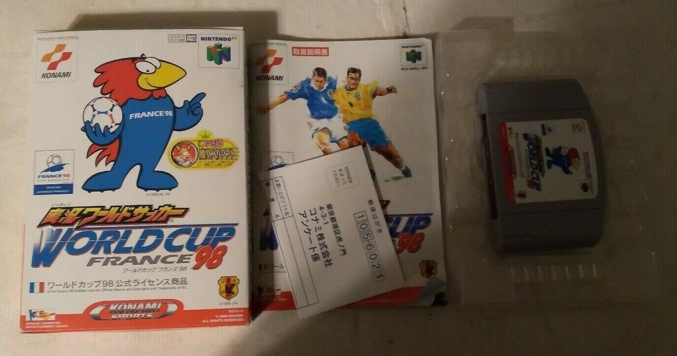 Jikkyou World SoccerWorld Cup France `98 Nintendo 64 N64 With Box Japan Import