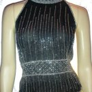 VINTAGE Black 1950s Beaded Scalloped Shirt Top Blouse L Large