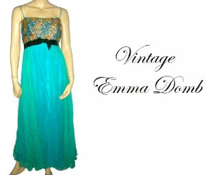 Vintage 50s Emma Domb Party Ball Gown Dress 16 L Large