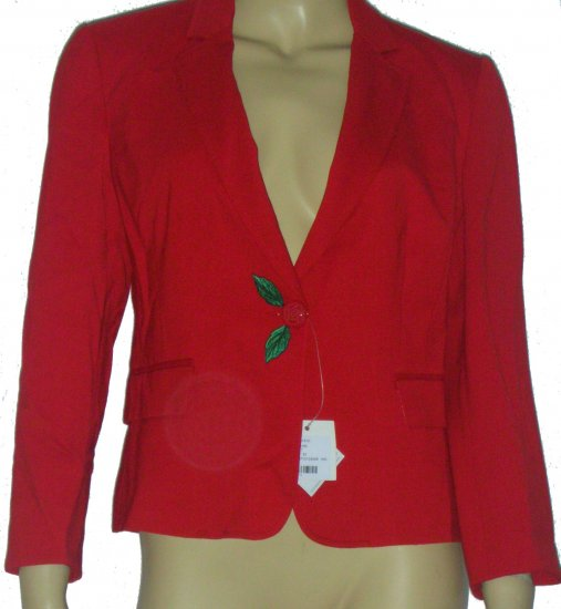 $349 NEW Moschino Cherry Red Flower Button Blazer Jacket size 8 M Medium