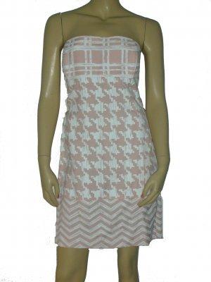$498 Randolph Duke Pink White Strapless Dress size 10 M Medium