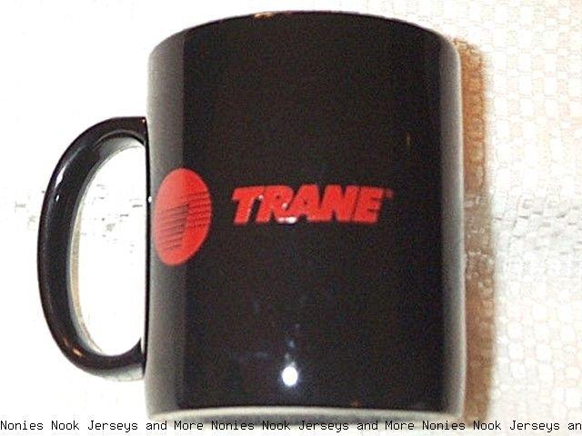 TRANE Heating & Cooling MUG black gloss orange/red logo coffee tea cup