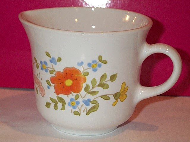 Corelle Creamer Wildflower orange poppy pansy white tapered mug
