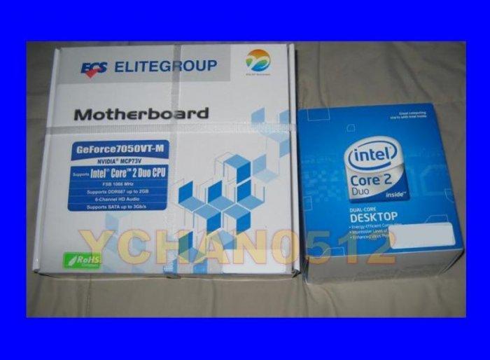 INTEL DUAL CORE 2 DUO E7200 CPU 2.53GHZ FAN LGA 775 HEATSINK SLAVN+ ECS GF7050VT-M Motherboard Combo