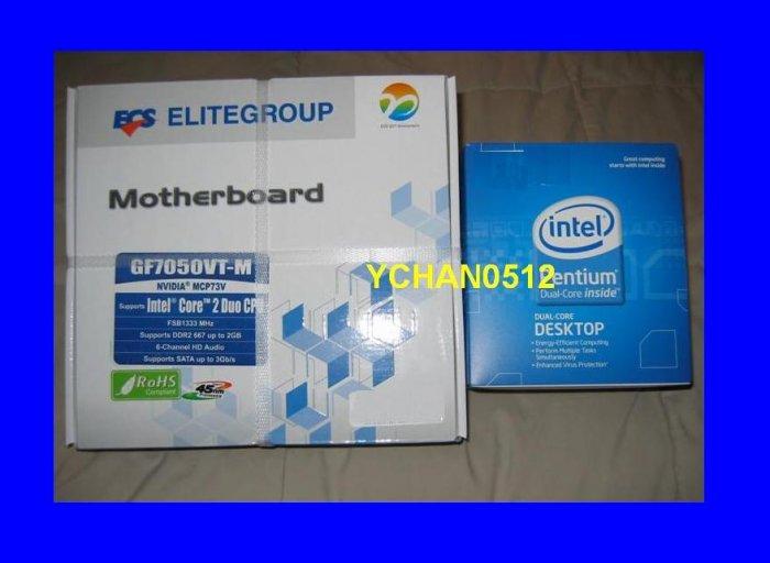 NEW BOX Intel Pentium Dual Core E2200 2.2 Ghz + ECS GF7050VT-M Motherboard Combo LGA 775 1333 FSB