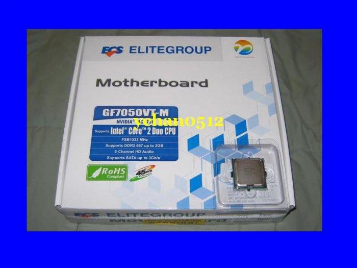 INTEL CORE 2 DUO E8400 CPU LGA 775 SLAPL + ECS GF7050VT-M Motherboard Combo DUAL PROCESSOR