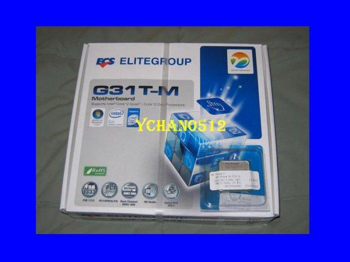 NEW INTEL DUAL CORE 2 DUO E8400 CPU 3.0GHZ LGA 775 SLAPL + ECS G31T-M Motherboard Combo BX80570E8400