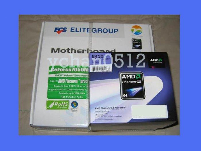NEW AMD Phenom 8650 X3 2.3Ghz CPU Processor + ECS GEFORCE7050M-M v2 Motherboard SOCKET AM2 Combo