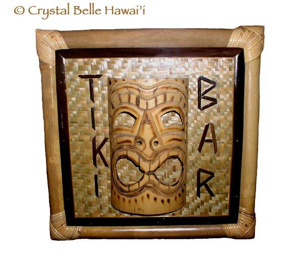 Hawaiian God Ku Tiki Bar Room 3D Sign Bamboo Mask