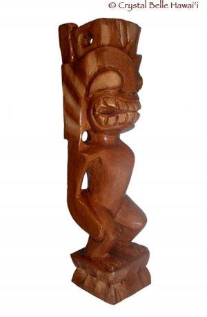 "Hawaiian God Lono Tiki Carved Wood Statue/Figurine 12"" - Brown"