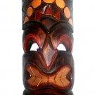 "Hawaiian God of Strengh Ku Carved/Painted Wood Tiki Mask 20"""