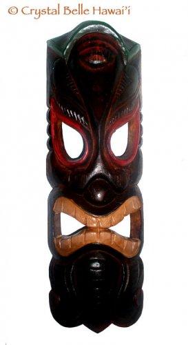 "Hawaiian God Ku of War Wooden Carved/Painted Tiki Mask 20"""