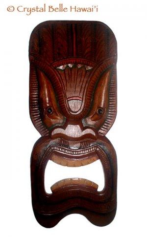"Hawaiian Lucky Tiki Hand Carved/Painted Wood Wall Hanging 20"""