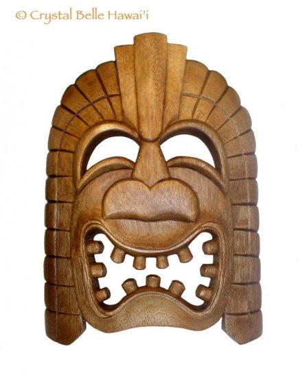 "Hawaiian God Ku Large Tiki Monkey Pod Wood Mask 13x10"""