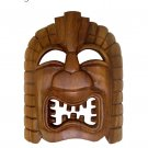Hawaiian God Ku Hand Carved Monkey Pod Wood Tiki Mask 9x7