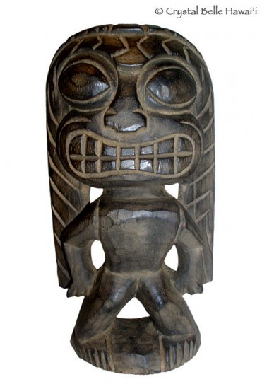 "Hawaiian God Ku Carved Tiki Wood Statue/Figurine 12-13"" - Natural/Black"
