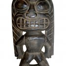 "Hawaiian God Ku Carved Tiki Wood Statue/Figurine 10"" - Natural/Black"