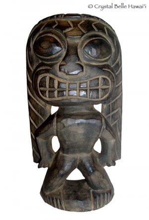 "Hawaiian God Ku Carved Tiki Wood Statue/Figurine 10"" - Natural/Black"