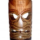 "Hawaiian God Ku Hand Carved and Painted Tiki Wood Statue/Mask 8"" - Brown/Green"