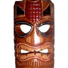 "Hawaiian God Ku Hand Carved/Painted Tiki Wood Statue/Mask 8"" - Brown/Red"