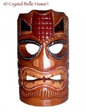 "Hawaiian God Ku Hand Carved/Painted Tiki Wood Statue/Mask 8"" - Brown/Red"
