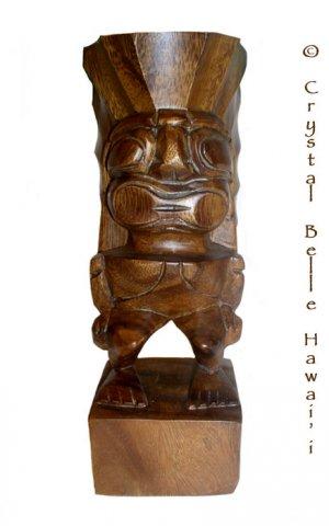 "Hawaiian God Ku Hand Carved Tiki, Natural Monkey Pod Wood Statue 10"""