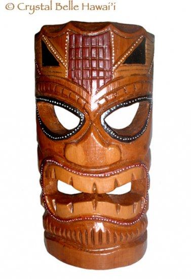 "Hawaiian God Ku Hand Carved and Painted Tiki Wood Mask/Wall Hanging - Statue 12"" - Brown/Red"