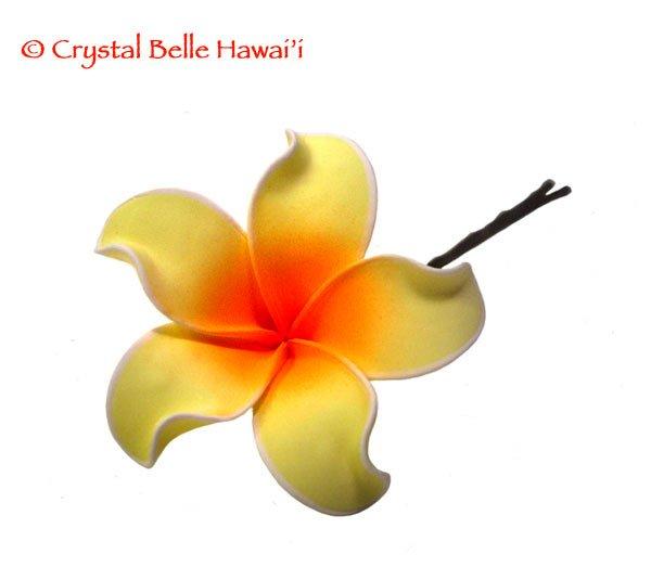 Hawaiian Plumeria Lei Flower Hair Pin Yellow/Orange