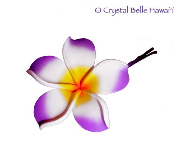 Hawaiian Plumeria/Frangipani Lei Flower Hair Pin, Purple, White, Yellow