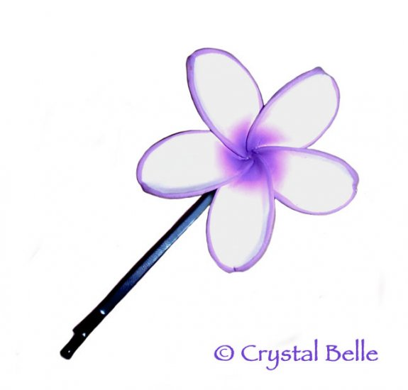 Hawaiian Frangipani Plumeria Flower Hair Pin, Purple White