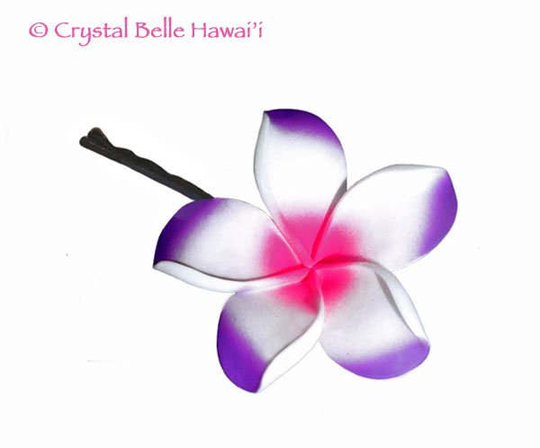 Hawaiian Plumeria/Frangipani Lei Flower Hair Pin - Purple Pink White
