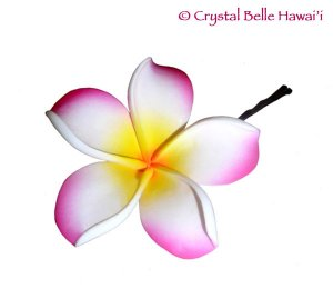 Hawaiian Plumeria/Frangipani Lei Flower Hair Pin - Pink White Yellow
