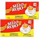 Sello Rojo 100 % Colombian Espresso Coffee 10 oz Brick 2 Bricks