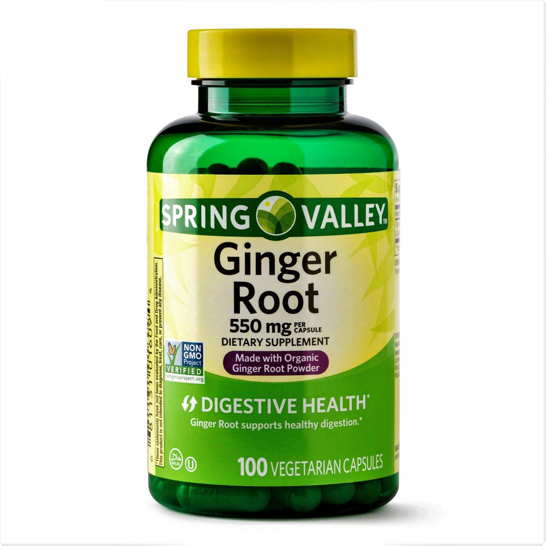 Spring Valley Ginger Root Digestive Health 550 mg 100 Vegetarian Capsules