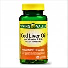 Spring Valley Cod Liver Oil Plus Vitamin A & D Immune Health 100 Softgels